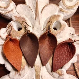 Leather Earrings. Leaf Best selling Browns. Pick